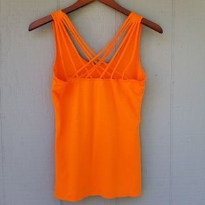 Fabletics Strappy Back Orange Crew Tank Small